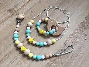 "Detské doplnky - Set hryzátko + retiazka na cumlík + náhrdelník ""Turquoise"" - 10794508_"