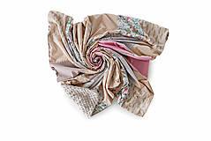 Úžitkový textil - Staroružová kvetovaná bavlnená minky deka / Mimi 02 - 10793615_