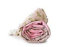 Úžitkový textil - Staroružová kvetovaná bavlnená minky deka / Mimi 02 - 10793616_
