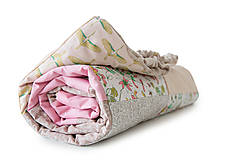- Staroružová kvetovaná bavlnená minky deka / Mimi 02 - 10793631_