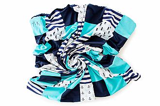 Úžitkový textil - Námornícka modro biela minky deka / Námorník 03 - 10793731_