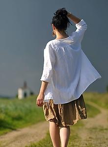 Košele - Košile lněná - bílá - 10793548_