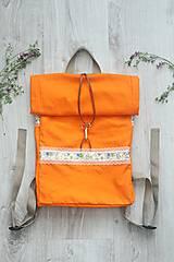 - Oranžový rolltop batoh - 10793873_