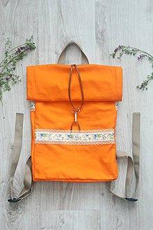 Batohy - Oranžový rolltop batoh - 10793873_