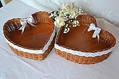 Košíky - Svadobné srdce na pierka - 10792921_