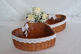 Košíky - Svadobné srdce na pierka - 10792915_