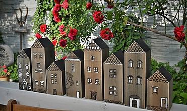 Dekorácie - Sada domčekov z malého mestečka  - 10792072_