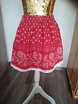 Detské oblečenie - červená sukňa s bordúrou - 10794993_