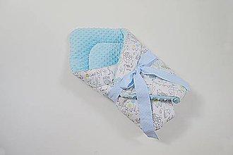 Textil - Zavinovačka modrá minky + Birds - 10795600_