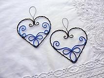 Dekorácie - vyšívané srdcom -modré...folk - 10794853_