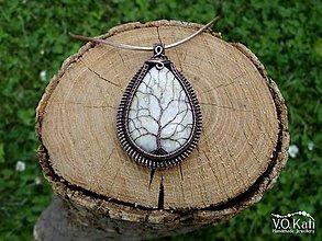 Náhrdelníky - Strom života - fosília koralu, wire wrapping - 10796361_
