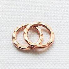Komponenty - pozlátený strieborný tepaný krúžok väčší, Ag 925 - 10794824_