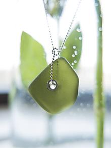 """Náhrdelníky - Sklenený """"Smaragd"""" päťuholník - 10796051_"""