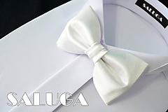 Doplnky - Pánsky biely motýlik - svadobný - 10796067_