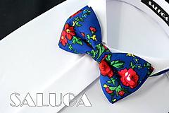 Doplnky - Modrý kvetinový motýlik - farebný - folklórny - 10796103_