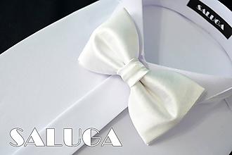 Doplnky - Pánsky biely motýlik - svadobný (pánsky motýlik s vreckovkou) - 10796067_