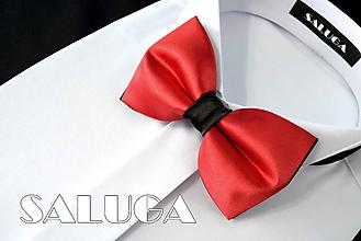 Doplnky - Pánsky červeno čierny motýlik - 10796085_