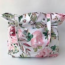 Kabelky - letná textilná kabelka ruže - 10796537_