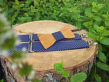 Doplnky - Pánsky drevený motýlik a traky - 10796240_