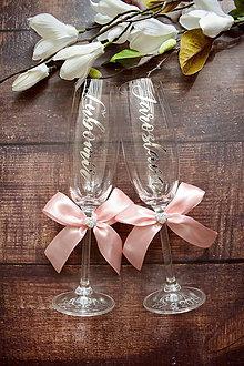 Nádoby - Svadobné poháre s menami zvislo- ružovo strieborné - 10795798_