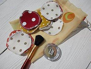 Úžitkový textil - sada bodkovaných tampónov s vreckom na pranie - 10795034_