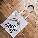 Veľké tašky - Ručne maľovaná bavlnená taška / Positive Vibes - 10796250_