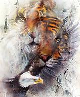 Obrazy - Obraz tigra s orlom s ornamentamy - 10794941_