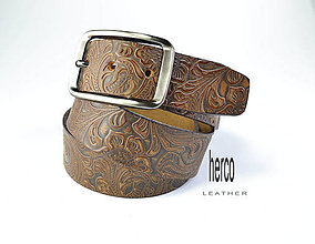 Opasky - kožený dámsky opasok s potlačou - 10795135_