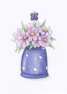 Kresby - Vázy s kvetmi (fialové) - 10795840_