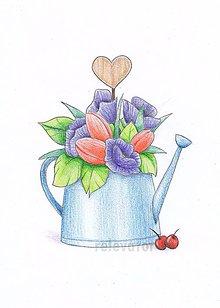 Kresby - Vázy s kvetmi  (pestré) - 10795841_