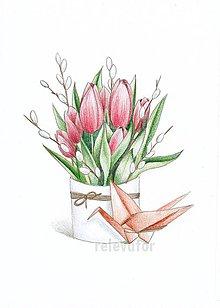 Kresby - Vázy s kvetmi  (tulipány) - 10795843_