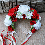 Ozdoby do vlasov - Svadobná parta z červených  a bielych ruží - 10799303_