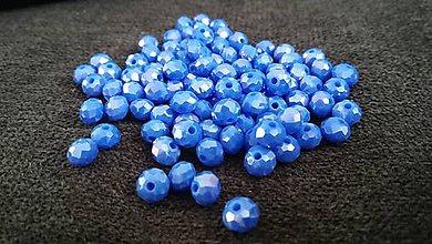 Korálky - Rondelka z bruseneho skla 6mm (Modrá) - 10797487_