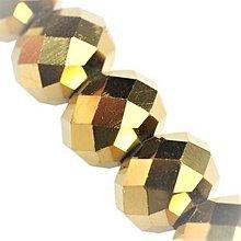 Korálky - Rondelka sklenena brusena 8mm (Zlatá) - 10797862_