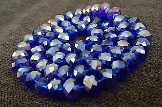 Korálky - Rondelka sklenena brusena 8mm (Modrá) - 10797898_