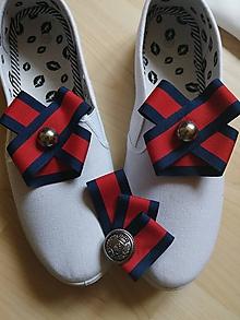 Odznaky/Brošne - Set modro-červené klipy a brošňa - 10798912_