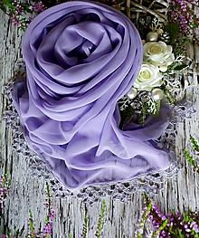 Šály - Zakletá do květů ledových - šifonový šál levandule - 10797389_