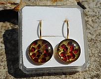 Náušnice - red garnet and green emerald in gold - 10799449_