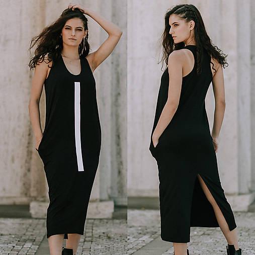 Šaty - FNDLK úpletové šaty 393 RHB maxi s rozparkem - 10797867_