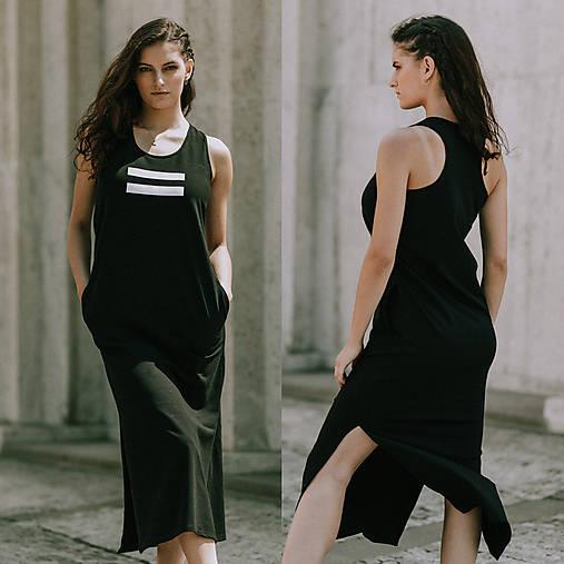 Šaty - FNDLK úpletové šaty 394 RHB maxi s rozparkami - 10797884_