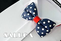 Detské doplnky - Tmavo modrý motýlik na guľky - detský - 10798304_