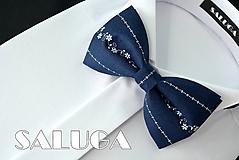 Doplnky - Pánsky tmavo modrý motýlik - folk - modrotlač - 10798385_