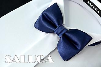 Detské doplnky - Detský tmavomodrý motýlik - navy blue (pánsky motýlik bez vreckovky) - 10798492_