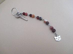 Kľúčenky - Kľúčenka - mačacia - s hnedým achátom - chir. oceľ - 10797749_