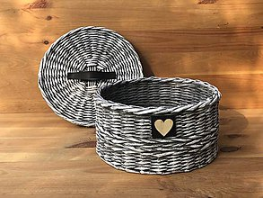 Dekorácie - Košík s koženými detailami - 10798726_