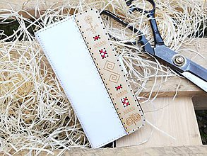 Na mobil - Knižkové puzdro Folk biele - 10797535_