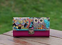 Peňaženky - Peněženka Sova Růžová, 18 karet, na fotky, 2 kapsy - 10798052_