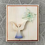 Dekorácie - Drevený Obraz Anjel s Motýľom - 10797169_
