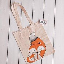 Veľké tašky - Ručne maľovaná bavlnená taška / Líšky - 10797991_