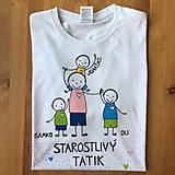 Oblečenie - Originálne maľované tričko pre TATIKA/OCKA so 4 postavičkami (XL) - 10798084_